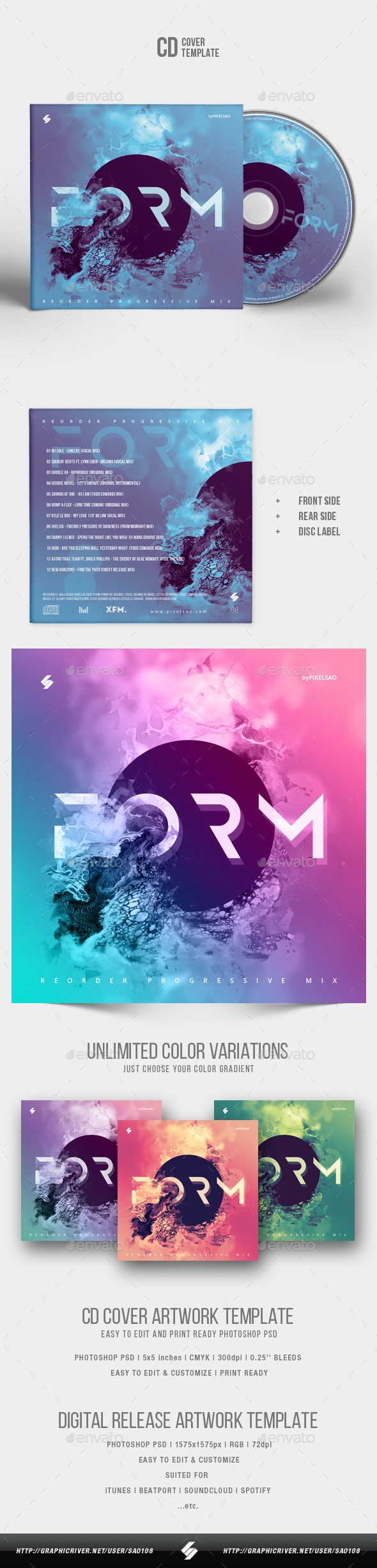 Form - Abstract CD Cover Artwork Template - CD & DVD Artwork Print Templates