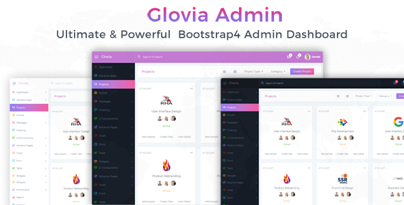 Image of Glovia - The Ultimate & Powerful Bootstrap 4 Admin & Dashboard Template