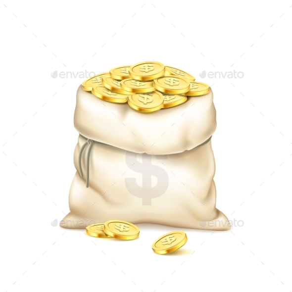 Realistic Old Bag with Heap of Gold Coins - Concepts Business