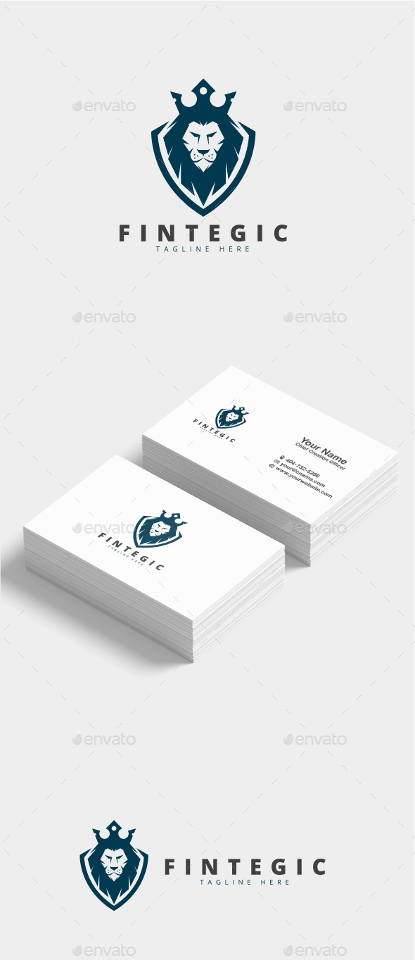 Fintegic Lion Shield Logo - Animals Logo Templates