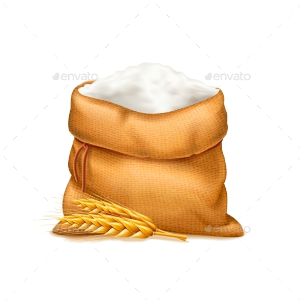 Vector Realistic Bag of Flour with Wheat Ears - Food Objects