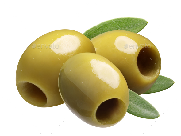 Green pitted olives, paths - Stock Photo - Images