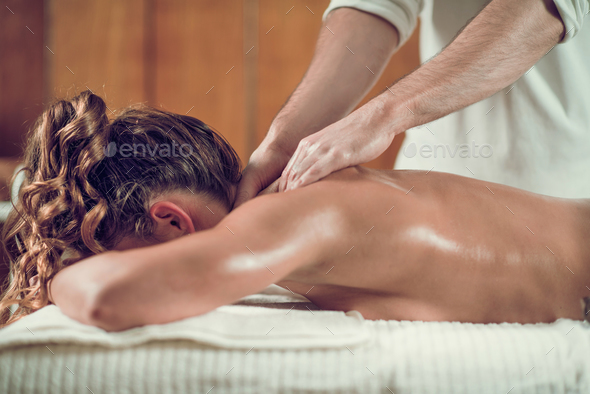 Relaxing Shoulders And Neck Massage - Stock Photo - Images