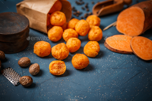 Mashed sweet potato balls - Stock Photo - Images