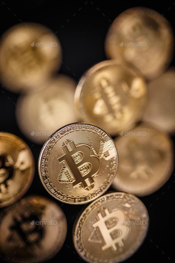 Golden bitcoins heap - Stock Photo - Images