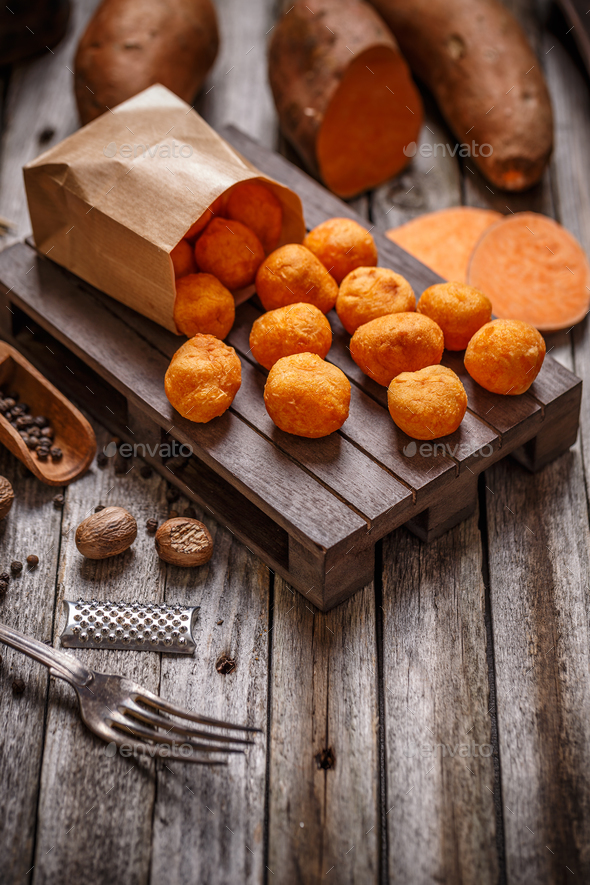 Homemade sweet potato croquettes - Stock Photo - Images