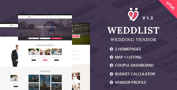 Weddlist - Wedding Vendor Directory HTML Template - Wedding Site Templates
