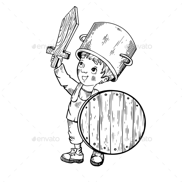 Child in Wooden Armor Engraving Vector - People Characters