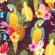 Seamless Macaw Pineapple and Flowers