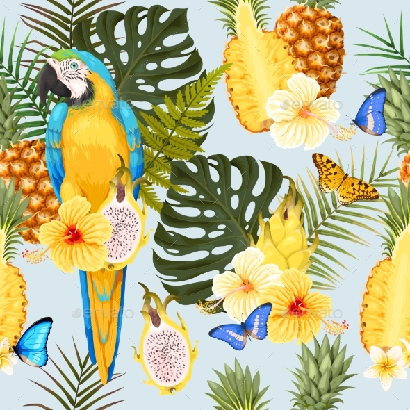 Seamless Macaw Pineapple and Flowers - Flowers & Plants Nature