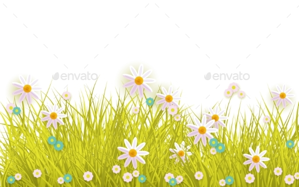 Spring grass and flowers border on white by sabelskaya graphicriver spring grass and flowers border on white flowers plants nature mightylinksfo