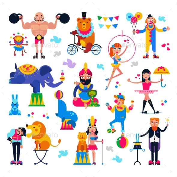 Circus People Vectors - Animals Characters