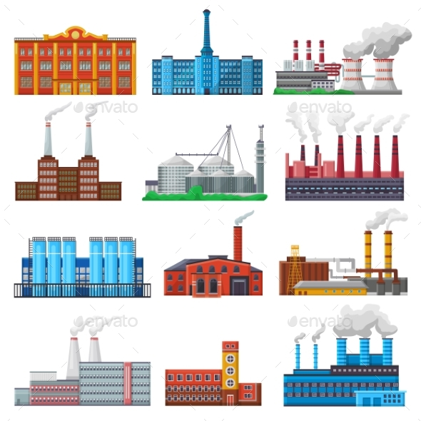 Factory Vector Industrial Building and Industry - Industries Business
