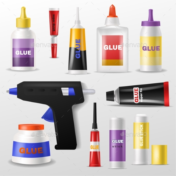 Glue Vector Gluestick and Gluely Liquid in Bottle - Man-made Objects Objects
