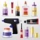 Glue Vector Gluestick and Gluely Liquid in Bottle