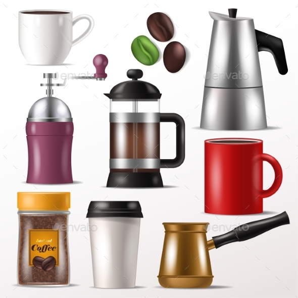 Coffee Cup Vector Mug for Hot Espresso - Food Objects