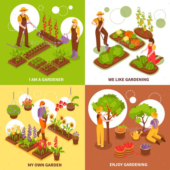Gardening Isometric Concept Icons Set - Flowers & Plants Nature