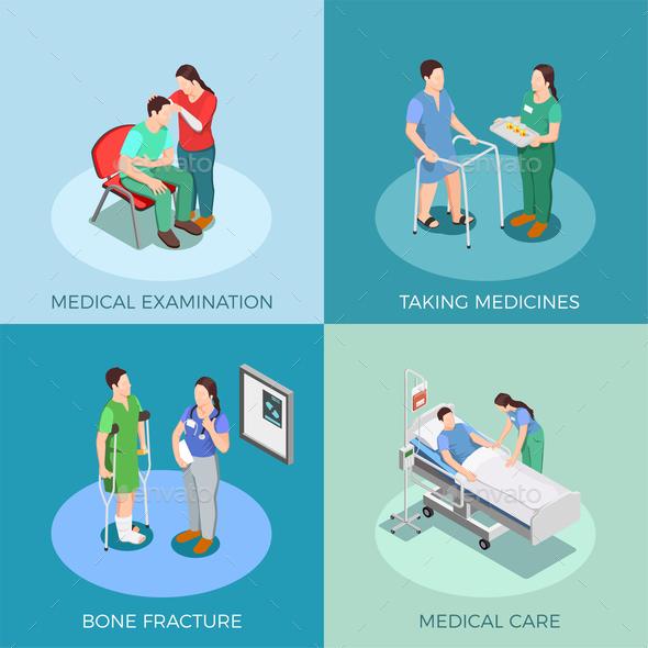 Doctor Patient Isometric Design Concept - Health/Medicine Conceptual