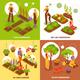Gardening Isometric Concept Icons Set