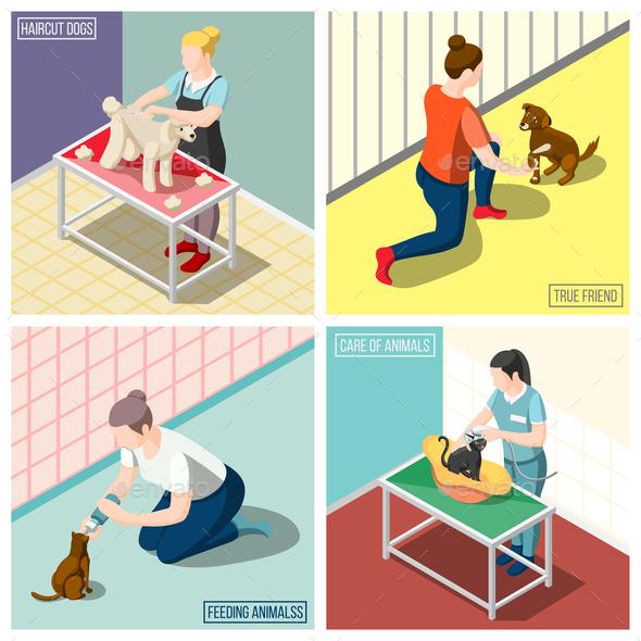 Animals Volunteers Isometric Design Concept - Animals Characters