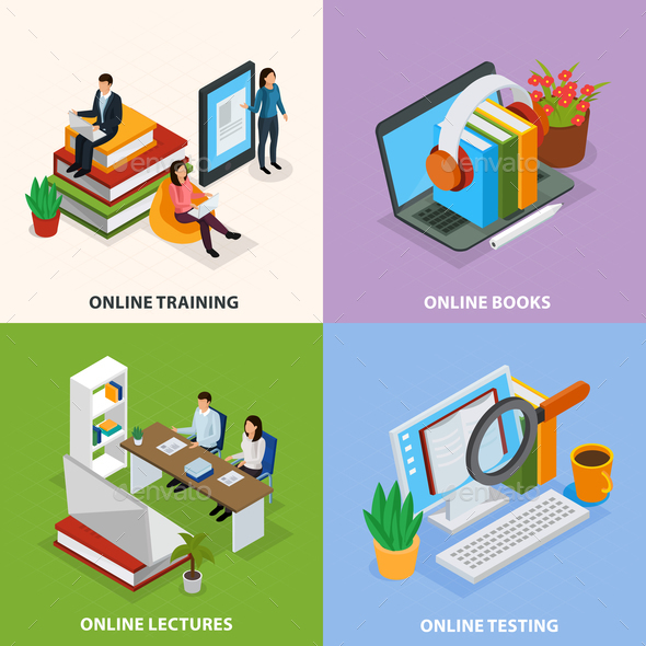 Online Education Isometric Design Concept - Computers Technology