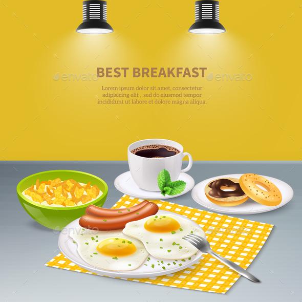 Realistic Breakfast Background - Food Objects