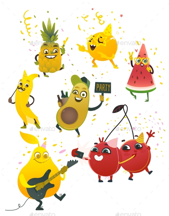 Vector Cartoon Fruit Summer Party Characters Set - Miscellaneous Characters