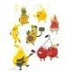 Vector Cartoon Fruit Summer Party Characters Set