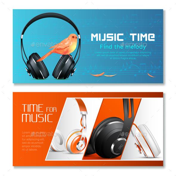 Realistic Headphones Horizontal Banners - Backgrounds Decorative