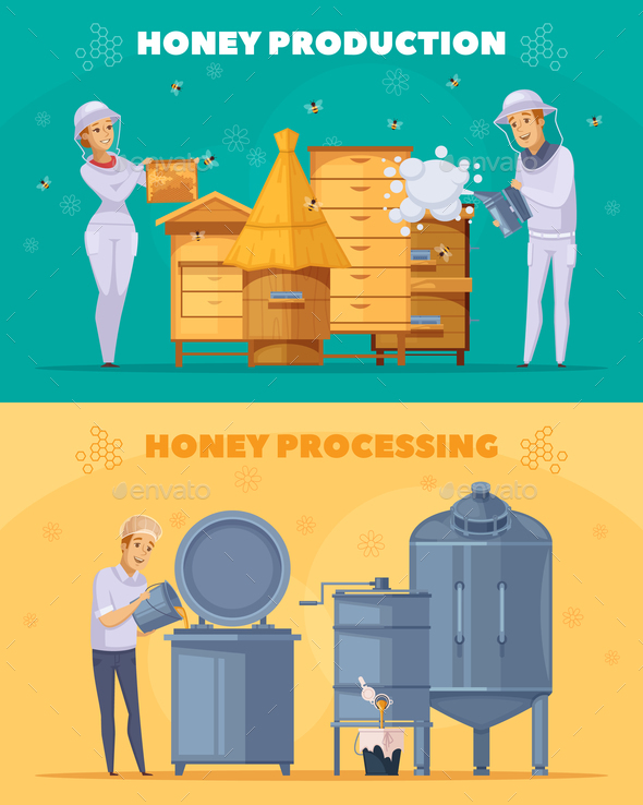 Honey Production Cartoon Horizontal Banners - Food Objects