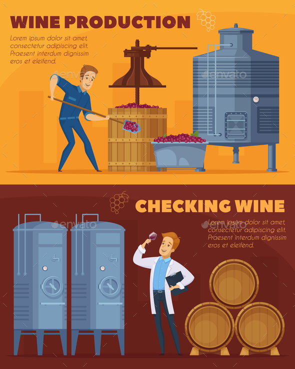 Wine Production Cartoon Horizontal Banners - Industries Business