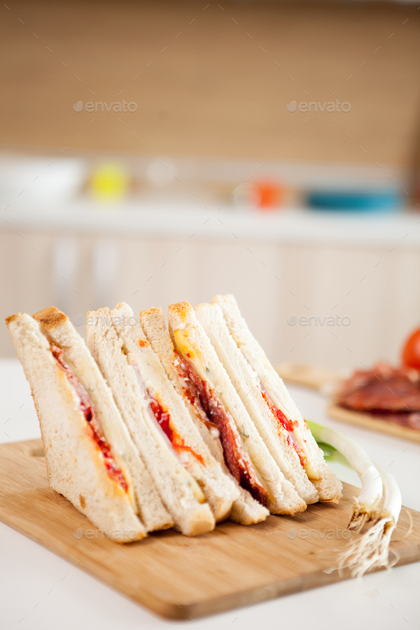 Club sandwich with white bread - Stock Photo - Images