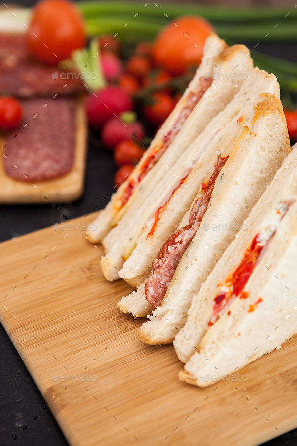 Close up on fresh club sandwiches - Stock Photo - Images