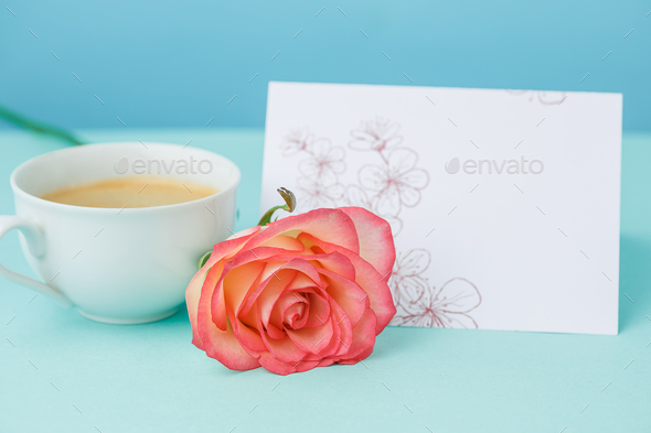 Love background with pink roses, flowers, gift on table - Stock Photo - Images