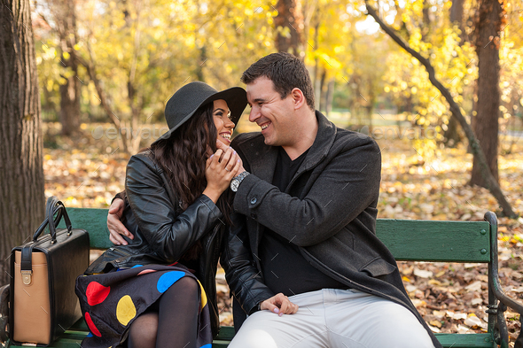 Beautiful gourgeous couple in park - Stock Photo - Images