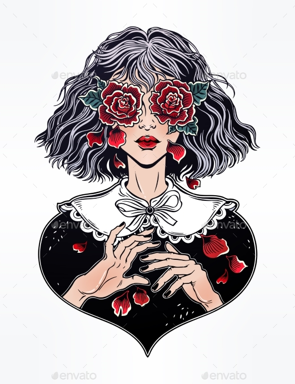 Girl with Eyes as Roses Crying Rose Petal Tears - People Characters