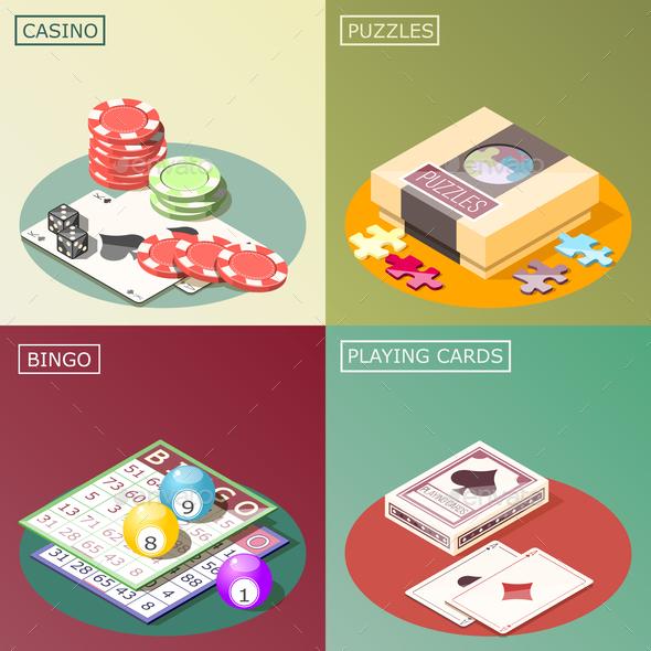 Board Games Isometric Design Concept - Miscellaneous Vectors