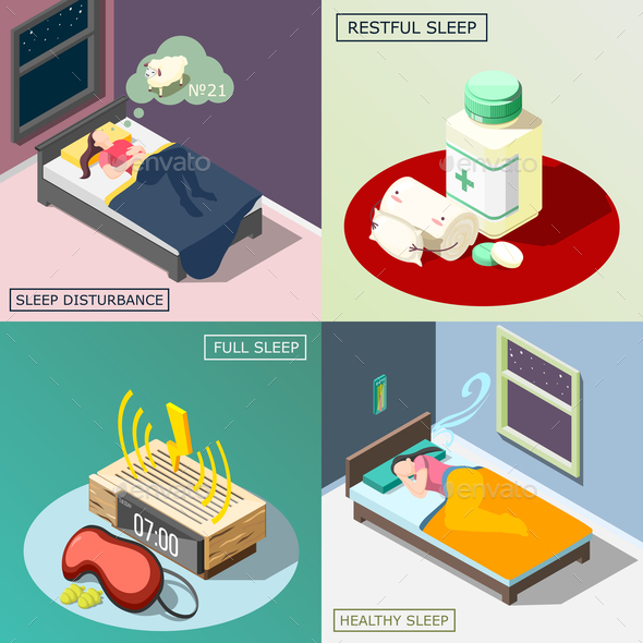 Night Sleep Isometric Design Concept - Health/Medicine Conceptual