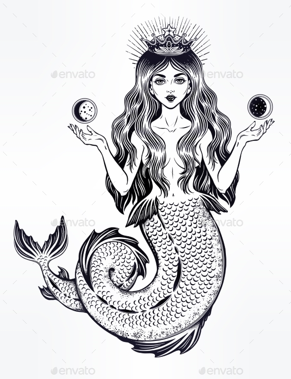 Magic Mermaid Queen with Crown and Moon - Tattoos Vectors