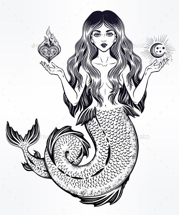 Magic Mermaid Girl with Heart and Moon - Tattoos Vectors
