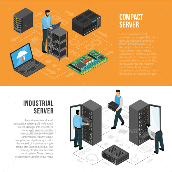 Datacenter Isometric Horizontal Banners - Computers Technology