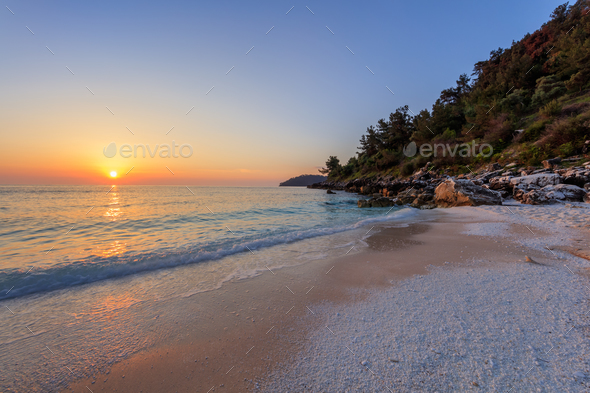 Marble beach (Saliara beach), Thassos Islands, Greece - Stock Photo - Images