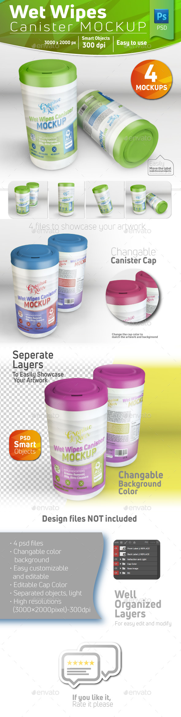 Wet Wipes Canister Mockup - Product Mock-Ups Graphics