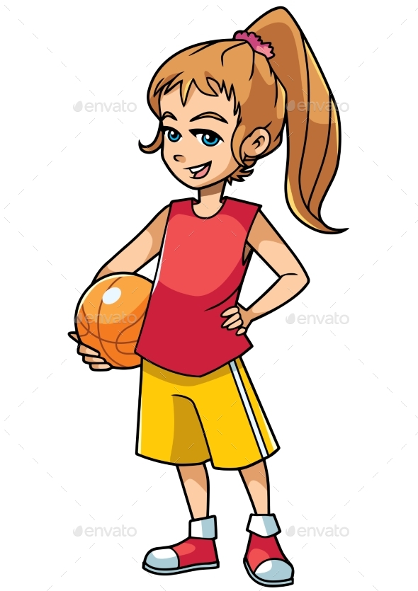 Basketball Girl on White - Sports/Activity Conceptual