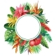 Round Frame From Tropical Plants and Flowers - GraphicRiver Item for Sale
