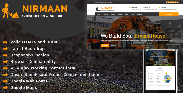 Nirmaan - Construction Company HTML Template - Business Corporate