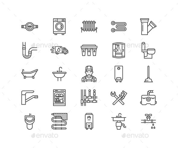 Plumbing Service Line Icons - Objects Icons