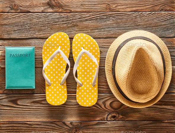 Travel and beach flat lay - Stock Photo - Images