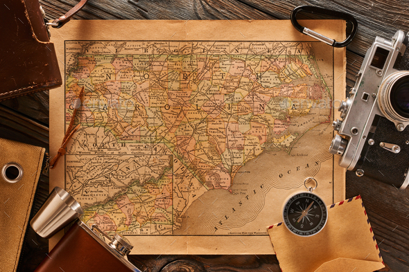 Vintage map and old 35mm camera - Stock Photo - Images