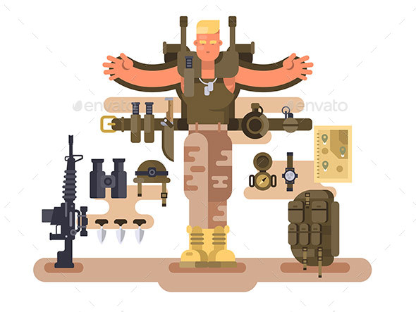 Military Soldier Rookie and Ammunition Design Flat - People Characters